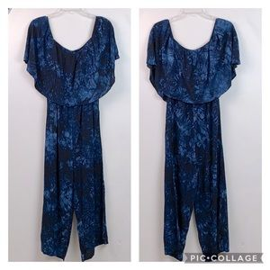NWT Lucky & Blessed tie dye off shoulder jumpsuit